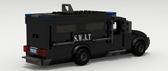 SWAT Van (rear view) (Tom.Netherton1) Tags: city classic cars car digital vintage team lego pov designer duty police special legos download vehicle van heavy armored tactics officer swat weapons dropbox povray officers criminals ldd lxf legocity legodigitaldesigner