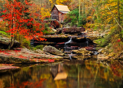 Glade Creek Grist Mill with Colorful Reflection (Derwin Hampton) Tags: autumn fall mill waterfall westvirginia gristmill babcockstatepark gladecreekgristmill