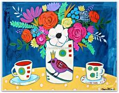 Afternoon Tea (Regina Lord (creative kismet)) Tags: flowers bird art coffee painting table acrylic tea crown bouquet blooms
