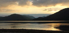 Onich (yorkiemimi) Tags: sunset sky sun mountain nature water landscape scotland scenery onich