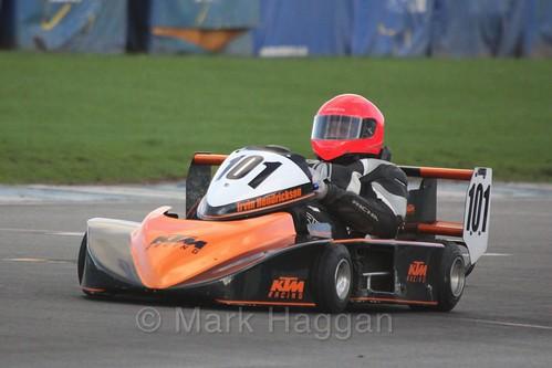 Irvin Henrickson in his Cyclone Honda in Superkart racing during the BRSCC Winter Raceday, Donington, 7th November 2015