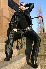Cora 11 (The Booted Cat) Tags: red sexy girl leather hair model pants whip tight mistress dominatrix