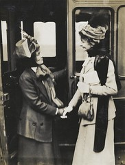 Emmeline Pankhurst and Constance Lytton at Waterloo Station, c.1910.