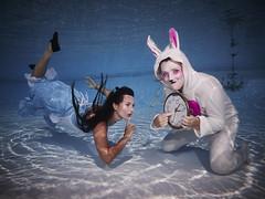 Alice in Wonderland (oisingormally) Tags: rabbit clock cards austria alice aliceinwonderland underwaterphotography canons100 rabbitsuit underwaterfashion underwaterfashionphotography swimmingpoolshoot inons2000 austriapoolshoot