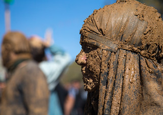 iranian shiite muslim woman covered in mud during ashura, the day of the death of imam hussein, Kurdistan Province, Bijar, Iran
