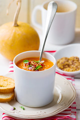 pumpkin soup in a white mug (Zoryanchik) Tags: thanksgiving autumn food orange white green halloween yellow dinner season pumpkin lunch cuisine soup healthy background cream seed tasty spoon bowl vegetable fresh gourmet delicious meal squash vegetarian appetizer diet butternut creamy