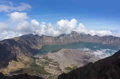 Top of Mount Rinjani, Lombok Indonesia (sydeen) Tags: rinjani mount lombok indonesia mountain volcano landscape crater blue lake sky bali nature island background travel park asia national hiking trekking water scenic danger summit height volcanic java view cloud active tropical