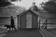 In Sync (Explored) (Fourteenfoottiger) Tags: explored explore beachhut shadows bright sunny sea seaside coast clouds sunshine light highcontrast contrast blackandwhite beach monochrome mono candid people walking walk man dog