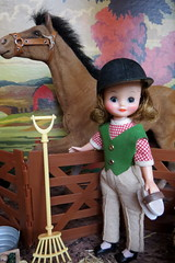 5. Here comes Merry Belle! (Foxy Belle) Tags: betsy mccall doll tiny vintage 8 pony pals horse farm stable fall trees color paint number hay brush fence diorama miniature 16 dollhouse