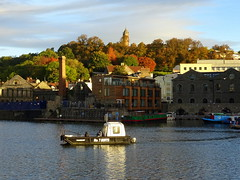 Cross Harbour Ferry on Bristol Floating Harbour (chibeba) Tags: october 2016 autumn fall bristol city southwest england english britain british unitedkingdom europe harbour bristolfloatingharbour crossharbourferry ferry brandonhill cabottower fallcolour autumnharbour
