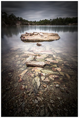 Floating rock (JakaPH Photography) Tags: landscape quarry water rocks long exposure day daylight daytime clouds cloudy movement reflection lee little stopper nd 6 10 16 lake karawatha forest brisbane queensland qld australia composition bright bush tree