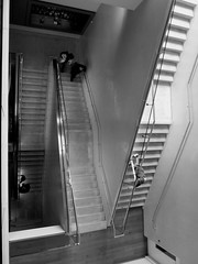 Stairwell (Catherine Elliott) Tags: oxford stairs monochrome staircase people climbing lookingdown