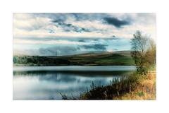 Piethorne Reservoir (Missy Jussy) Tags: piethorne piethornevalley reservoir reflections ogden newhey rochdale landscape lancashire england water sky clouds trees land pylon canon cannon600d canon1855