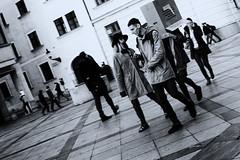 Bratislava (MattusB) Tags: street streetphotography bratislava main old square november box head three people blackwhitemonochromatic blackwhite black white sigma 30mm f14 matus benian slovakia slovensko 2016