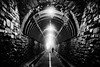 The Future Is Uncertain (Geoff Livingston) Tags: tunnel man dog pedestrian death future home fear bricks monochrome bw blackandwhite
