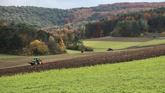Feldarbeit (mobilix) Tags: feld wald herbst traktor pflug egge wiese