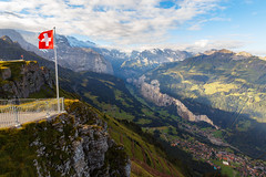Lauterbrunnen Valley (TheDailyNathan) Tags: alps berneroberland berneseoberland jungfrau lauterbrunnen lauterbrunnenvalley mannlichen mountains mnnlichen sunrise swissalps switzerland tschuggen swissflag