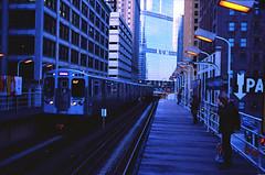 Drink Rum (karstenphoto) Tags: nevertrump rum chicago illinois el elevated mass transit train tracks blue hour city version 35mm kodak ektar leica m2 analog ishootfilm film