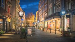 05:04 p.m. (Stefan Sellmer) Tags: schleswigholstein november d750 bluehour shopping citylights outdoor lights cityscape wow kiel fantasy dänischestrase deutschland de
