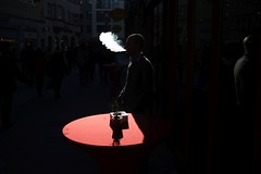 . (Fabian Schreyer // shootingcandid) Tags: street streetphotography candid spotlight strasenfotografie smoke cigarette zigarette rot red shadow