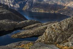Autumn landscape - D8E_6887 (Viggo Johansen) Tags: autumn landscape mountains lake fjord sea forest trees rocks lysefjorden rogaland norway