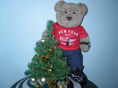 Tree-mendous! (pefkosmad) Tags: tedricstudmuffin teddy ted bear christmas tree decorations gold cute stuffed soft toy fluffy plush spoiltbear bearsized green baubles