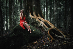 Woman in Red (eggysayoga) Tags: nikon nikkor d810 50mm afd f14 14 14d f14d kebun raya hutan jungle forest tree root bali botanical garden bedugul vsco vscofilm film emulation kodak portra woman girl russian caucasian indonesia asia available light sad red dress blonde fade