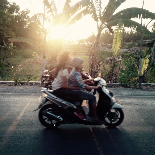 An older photo taken on an iPhone 4s. Late afternoon traffic on Lombok.  ---------------------------------------  #travel #Indonesia #Lombok #upsticksngo #travels #motorbike