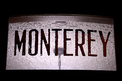 MONTEREY (Justin van Damme) Tags: old light white black building window sign monterey noir apartment broadway east hanging lettering stucco