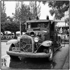 Rat Rod Ford at the XXX Drive-In (NoJuan) Tags: blackandwhite bw ford tlr rolleiflex mediumformat square blackwhite squareformat ilfordxp2 carshow twinlens 120rollfilm rolleiflex35a xxxdriveinissaquah