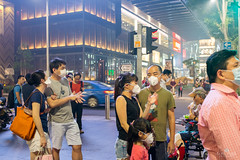 Aegis (kiatography1) Tags: road street travel family friends light people urban streets color colour colors wearing weather night standing mall shopping photography lights smog haze singapore waiting sitting colours fuji traffic bright photos streetlights group bad images orchard tourists masks human photograph elements billboards resting sg emotions badweather streetscapes orchardroad 2015 n95 wearingmasks touristdestination humanelements x100t fujix100t haze2015