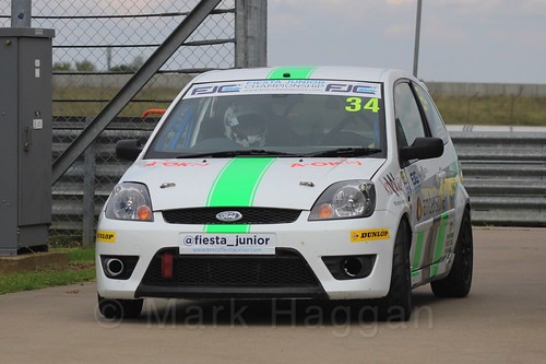 Michael Higgs after Race 2, Fiesta Junior Championship, Rockingham, Sept 2015