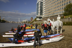 Thames horse sculptures and kayakers (MJ Keane) Tags: thames vauxhall horsesculpture jasondecairestaylor