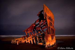 Peter Iredale shipwreck in a midnight rain squall Oregon USA