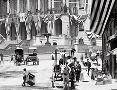 C. 1900 Summer in Boston, detail (Historicimage) Tags: boston americanflag americana 4thofjuly vintagephoto bostonstatehouse bostonmassachusetts oldboston vintageboston parkstreetboston beaconstreetboston patrioticboston