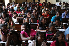 University of Ghana students listen to their political science professor, Dr. Evans Aggrey-Darkoh in Accra, Ghana (World Bank Photo Collection) Tags: africa students smiling youth laughing student education university classroom science class ghana lesson worldbank accra