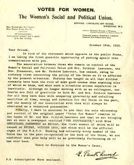 Copy of letter from Emmeline Pankhurst regarding the Pethick Lawrences, 1912