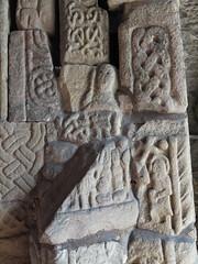 Ancient gravestone fragments, Bakewell All Saints Church (richarddubreq) Tags: church derbyshire peakdistrict bakewell allsaintschurch