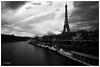 I love Paris in the fall (MF[FR]) Tags: sky blackandwhite paris france tower seine clouds river boat europe tour noiretblanc samsung eiffel ciel nuage bateau iledefrance fleuve nx1 baladesparisiennes