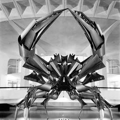 Crabby (Andrew Luyt) Tags: tlr film metal twinlensreflex ilfordfp4 hrmacmillanspacecentre crabsculpture tokina100mm28macro dslrscan minoltaautocordcds