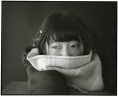 HIKARINOKO (yr.1) (Tamakorox) Tags: shadow portrait art love film japan scarf japanese lights student asia fuji kodak tmax 日本 graduate b&w pleasure 光 愛 影 卒業 analoguecamera 日本人 喜び highschoolstudent 高校生 mamiyarb67prosd