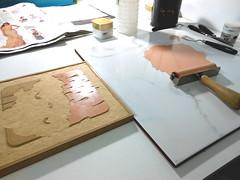 Primeras pruebas de Nube 1 (Telarts) Tags: wood cloud rain square lluvia infantil engraving printing prints block woodcut ilustracin grabado cuadrado xilografa estampacin entintado