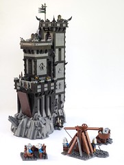 Grimhold Castle Siege (W. Navarre) Tags: lego castle dark black grey white crags crag catapult siege men minifigs