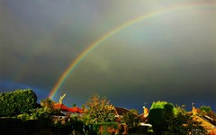 This morning's rainbow ! (Jan 130) Tags: rainbow houses crane home