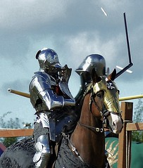 A CLASH OF ARMS (Fleet flyer) Tags: bosworthbattlefield thebattleofbosworth1485 reenactment bosworth leicestershire thewarsoftheroses medieval knight horse medievalwarhorse joust destrier