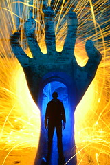 A Helping Hand.(Handy Dan'dy) (martbarras) Tags: martbarras lensswap lightpainting lpuk lpwa double exposure steelwool wirewool urbex portsmouth brighton shoreham hand silhouette figure blue orange abandoned ahelpinghand lightpainter lightpaint lightart sooc raw camera conversion smoke strobe