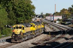 WS-2 on the Pilot (sullivan1985) Tags: train railroad railway morning nysw susquehanna susieq newyorksusquehannawestern southerndivision su100 ws2 emd electromotive sd402 sd60 nysw3018 nysw3806 nysw3808 yellowjacket yellow ridgefieldpark newjersey nj bergencounty eastbound freight freighttrain station