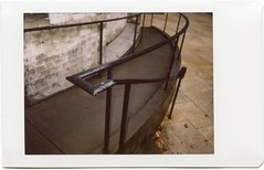 AutumnRoidWeek2016_101616_300_Railing_St James Cathedral Seattle237 (*Snap_Shot*) Tags: polaroidweek2016 roidweek autumnpolaroidweek2016 polaroid300 instaxmini instantfilm stjamescathedral seattle railing handrail curve blackrail aftertherain architecture lines church