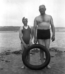 Dad and daughter at the beach (vintage ladies) Tags: vintage family people portrait blackandwhite father dad daughter seaside swimwear swimmingcostume beach