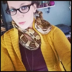 Alyssa's four year old, five foot long Columbian Red-Tailed boa constrictor, Cynder, makes an excellent neck warmer. At the very least she is more eye-catching than any of my scarves!  #ColumbianRedTailedboa #RedTailedboa #boaconstrictor #boa #snak (Jenn ) Tags: ifttt instagram